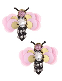 Fashion Pink Sequined Rice Beads With Diamond Bee Stud Earrings