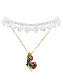 Fashion Color Butterfly Lace Necklace