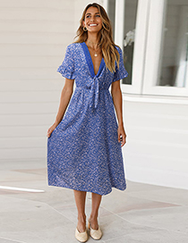 Fashion Blue Knotted Lace Stitching Ruffled Sleeve Floral Dress