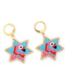 Fashion Color Pentagram Flamingo Figure Woven Rice Beads Earrings