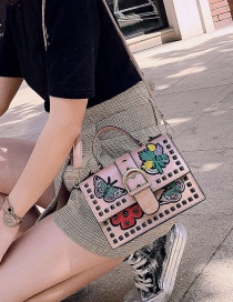 Fashion Pink Butterfly Embroidered Studded Shoulder Crossbody Tote