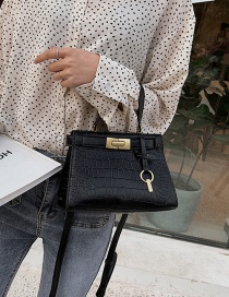 Fashion Black Hand-locked Stone-grain Shoulder-slung Crossbody Bag