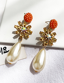 Fashion Orange Alloy Diamond Pearl Stud Earrings