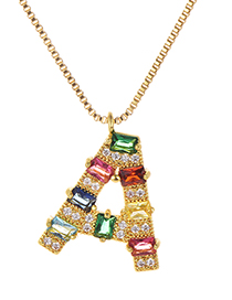 Fashion A Gold Color Copper Inlaid Zircon Letter Necklace