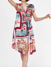 Fashion Red Square Print Dress