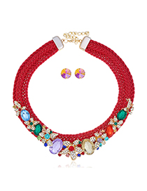 Fashion Red Alloy Flower Tassel Woven Necklace Set