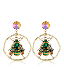 Fashion Green Gemstone Insect Earrings