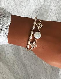 Fashion Gold Pearl Alloy Diamond Bracelet