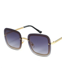Fashion Gold Frame Gray Piece Flat Gradient Sunglasses