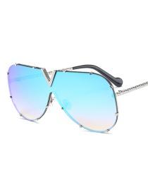 Fashion Ice Blue Siamese Sunglasses