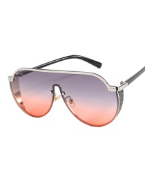 Fashion Silver Frame Gray Red Half Frame Sunglasses