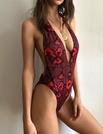 Fashion Red Snake Print Halter One-piece Swimsuit