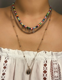 Fashion Gold Letter Beaded Shell Multi-layer Necklace