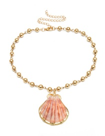 Fashion Gold Single Layer Gold-plated Natural Scallop Imitation Pearl Necklace