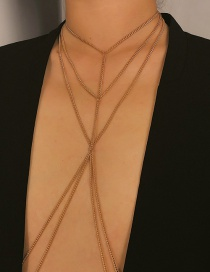 Fashion Gold Geometric Multilayer Tassel Body Chain