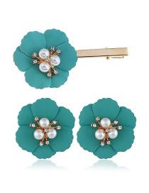 Fashion Blue Alloy Flower Pearl Earrings Hair Clip Set