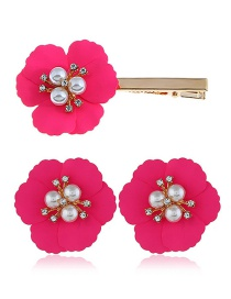 Fashion Rose Red Alloy Flower Pearl Earrings Hair Clip Set