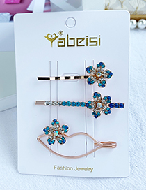 Fashion Blue Alloy Diamond Lip Flower Hair Clip Set