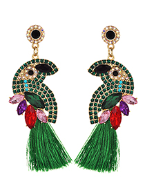 Fashion Green Alloy Diamond-studded Bird Tassel Earrings