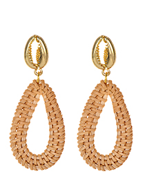 Fashion Gold Alloy Crab Claw Rattan Water Drop Shape Earrings