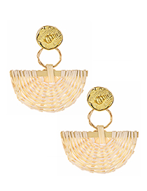Fashion Gold Alloy Irregular Rattan Fan-shaped Earrings