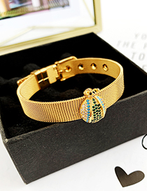 Fashion Gold Stainless Steel Copper Inlay Zircon Light Beetle Bracelet