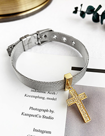 Fashion Silver Stainless Steel Copper Inlay Zircon Cross Bracelet