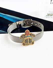 Fashion Silver Stainless Steel Copper Inlay Zircon Turtle Bracelet