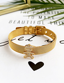 Fashion Gold Stainless Steel Copper Inlay Zircon Three-dimensional Boy Bracelet