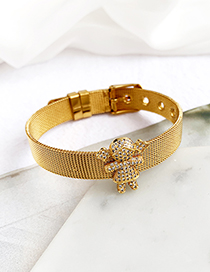 Fashion Gold Stainless Steel Copper Inlay Zircon Girl Bracelet