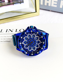 Fashion Blue Alloy Diamond Flower Electronic Watch