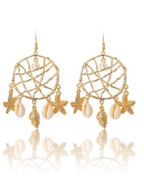 Fashion Gold Dream Net Starfish Conch Shell Pearl Earrings