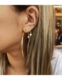 Fashion Gold Six-pointed Star Large Circle Alloy Earrings
