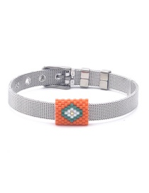 Fashion Orange Woven Rice Beads Metal 10mm Titanium Steel Mesh Adjustable Buckle Bracelet