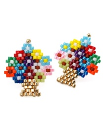 Fashion Color Life Tree Rice Beads Woven Earrings