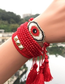 Fashion Red Suit Woven Rice Beads Eye Bracelet