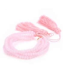 Fashion Pink Crystal Beads Crepe Lips: Rice Beads: Woven Bracelet