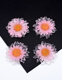 Fashion Pink Transparent Gold Foil Daisy Resin Accessories