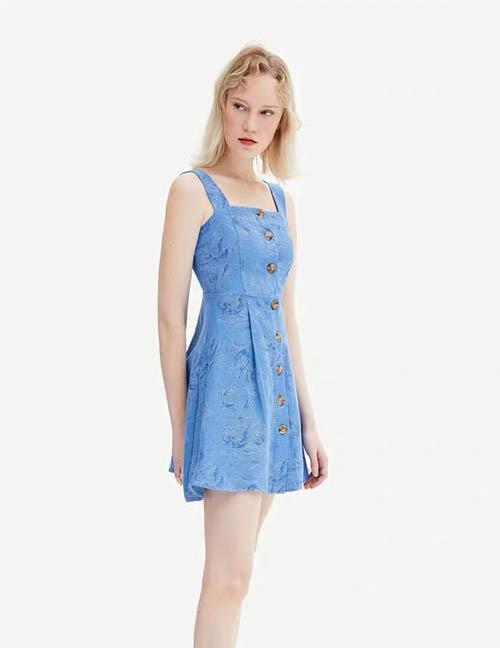 Fashion Blue Printed Strap Dress