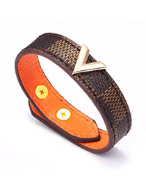 Fashion Brown V-shaped Leather Striped Bracelet
