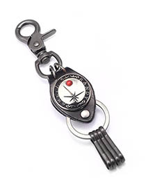 Fashion Red Pine Cowhide Alloy Letter Jewel Inlaid Keychain