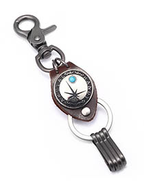 Fashion Turquoise Cowhide Alloy Letter Jewel Inlaid Keychain