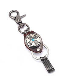 Fashion Turquoise Cross Alloy Keychain