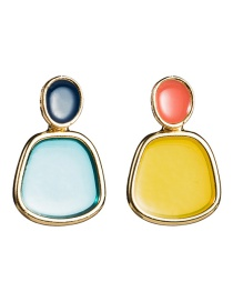 Fashion Yellow Blue Alloy Edging Drip Resin Earrings