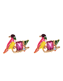 Fashion Red Alloy Resin Drip Bird Earrings