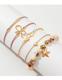 Fashion Gold Alloy Starfish Bead Bracelet 5 Piece Set