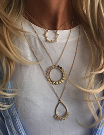 Fashion Gold Metal Ring Multi-layer Necklace
