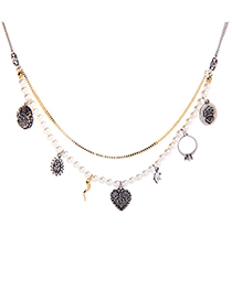 Fashion Pearl Multi-layer Pearl Embossed Necklace