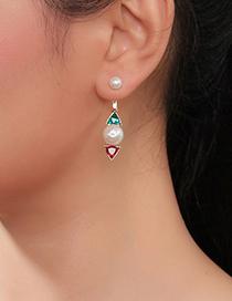 Fashion Color Geometric Triangle Pearl Stud Earrings