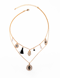 Fashion Gold Eye-studded Tassel Double Necklace